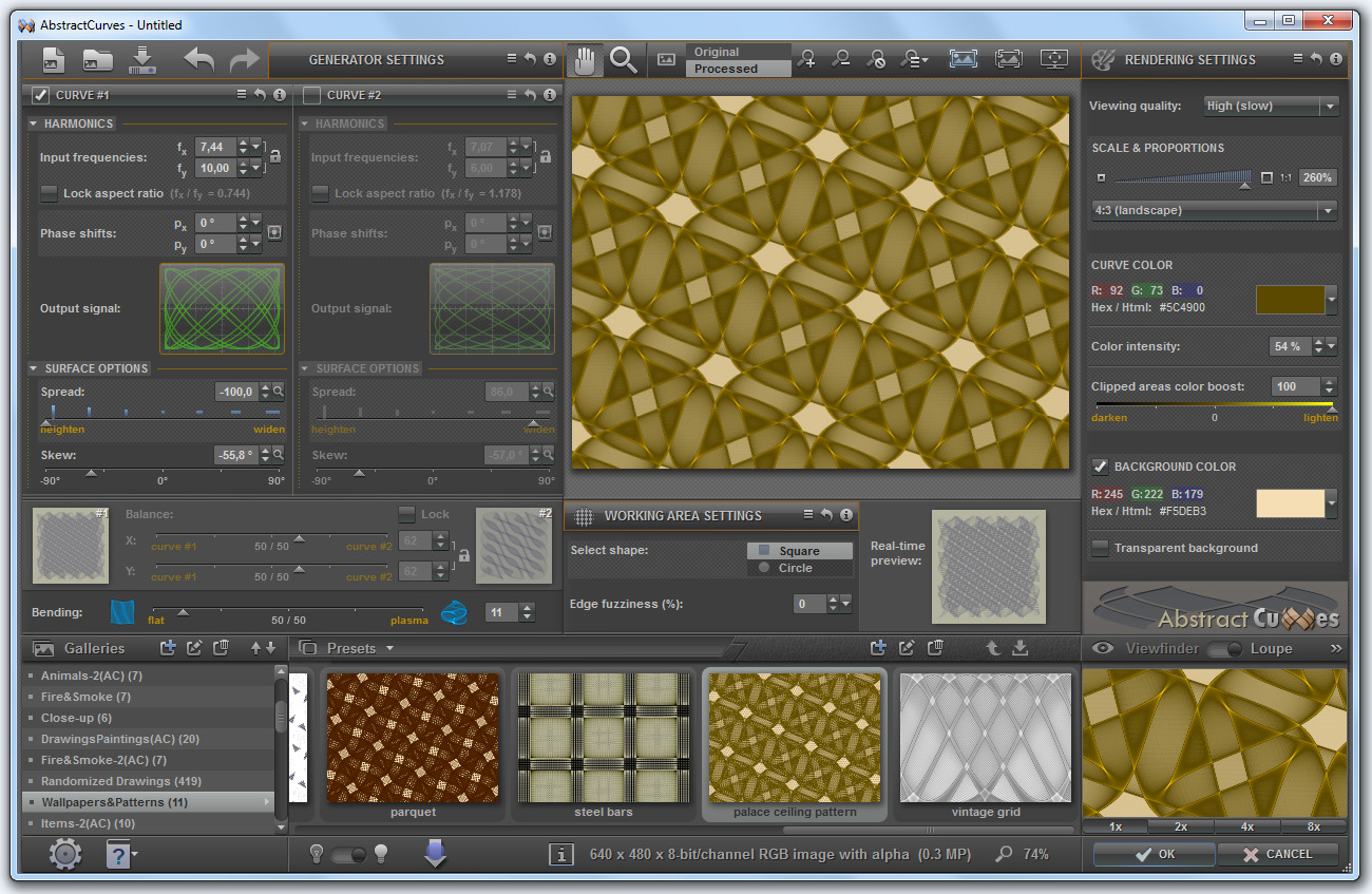 Create abstract golden images and patterns using AbstractCurves photoshop plugin
